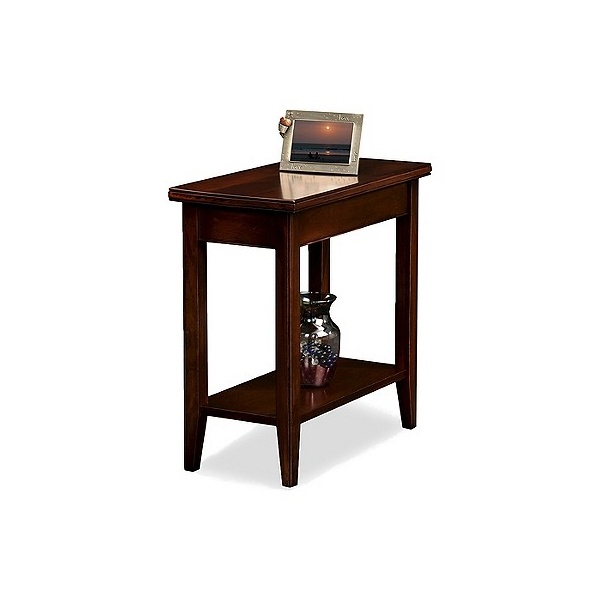 Laurent Narrow Chairside Table Chocolate Cherry Finish - Leick Home, Brown
